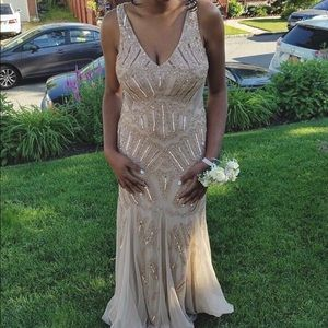 Adrianna Papell Champagne Beaded Gown